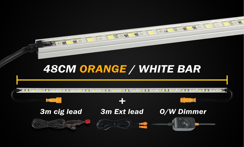 Hard Korr 48cm Orange White LED Camping Light Bar