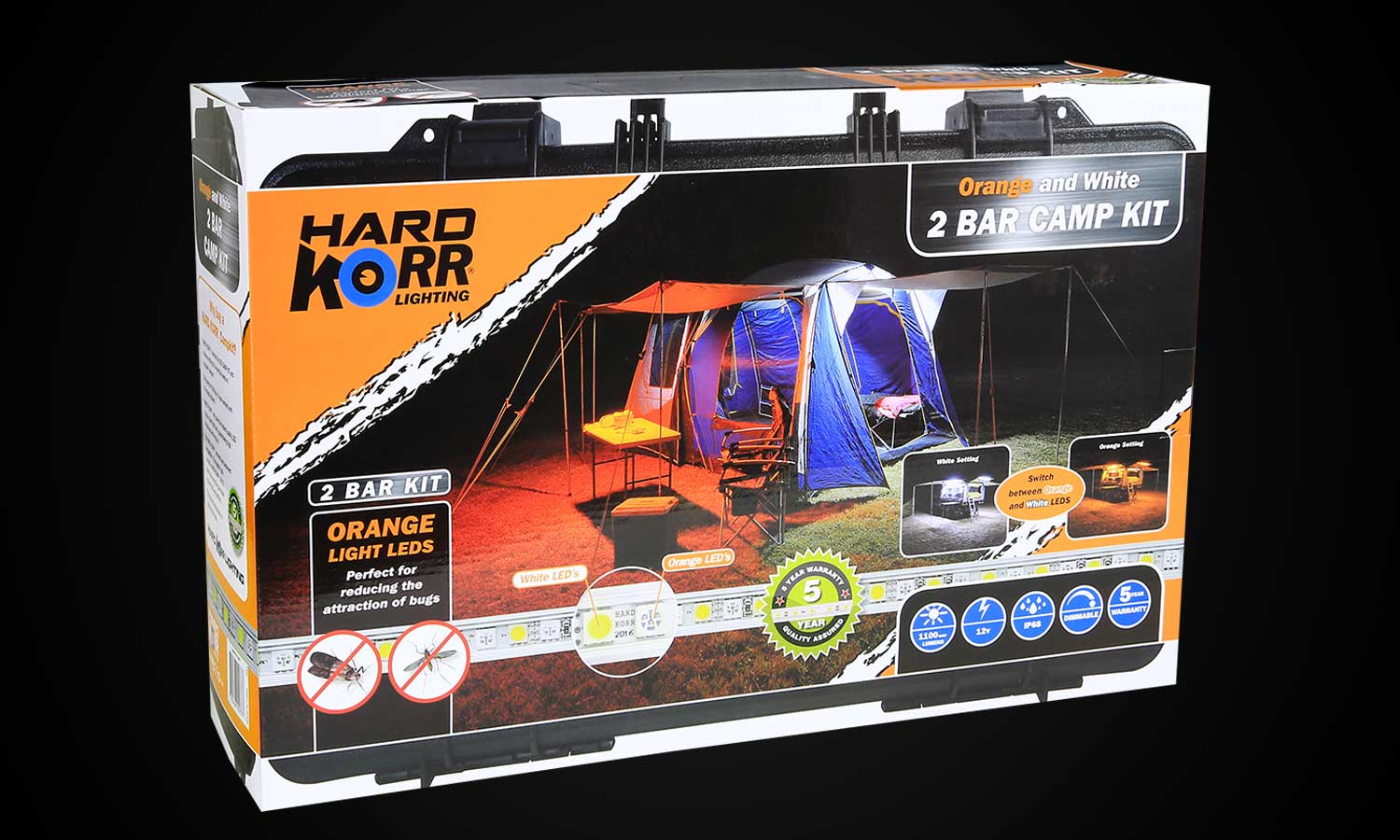 Hard Korr LED Camp Light Kit 2 Bar Orange White