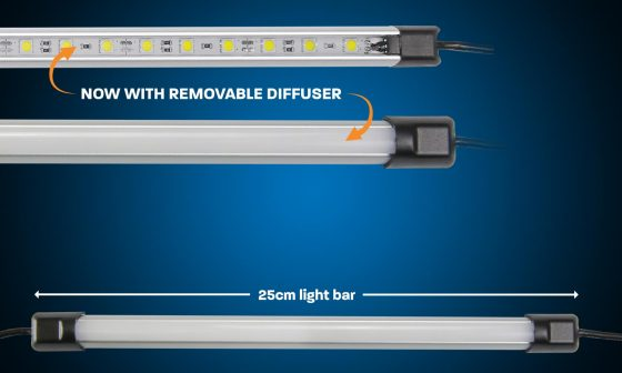 25cm white LED camping light bar with diffuser
