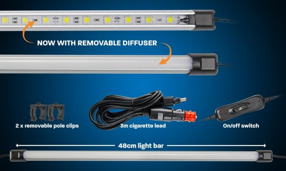 48cm white LED camping light bar with diffuser