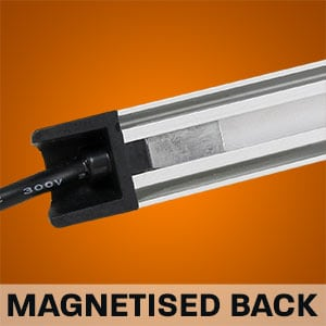 Hard Korr camping light bars come with magnets inbuilt into the rear channel