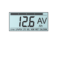 This solar regulator has a large backlit LCD display