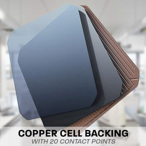 Hard Korr solar cells have a solid copper backing with 20 points of contact